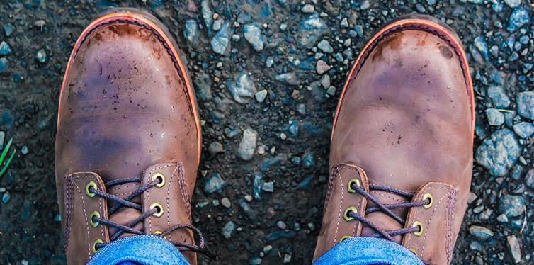 brown work shoes