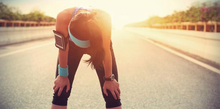 female runner taking a break