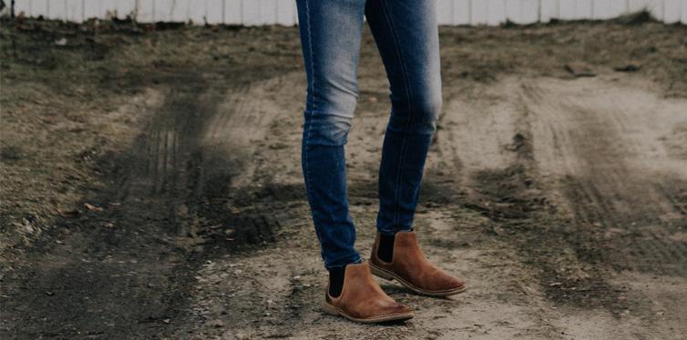 man wearing brown shoes