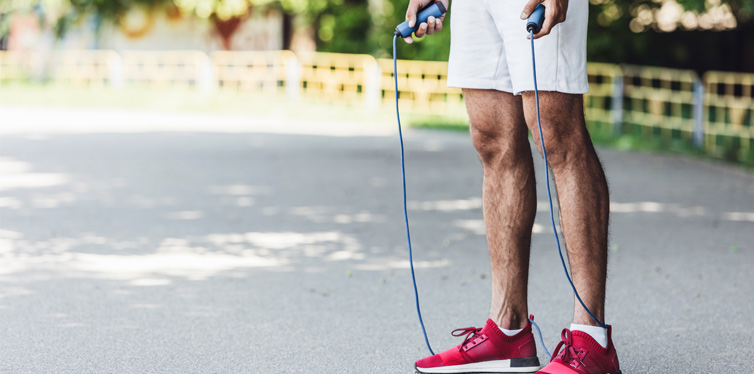 man with jumping rope