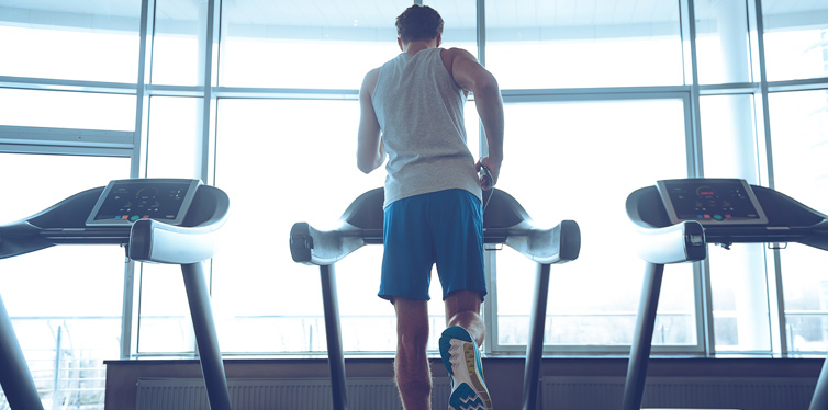 young man on a treadmill