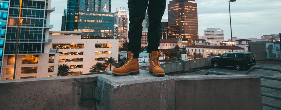 a man wearing steel toe cap boots