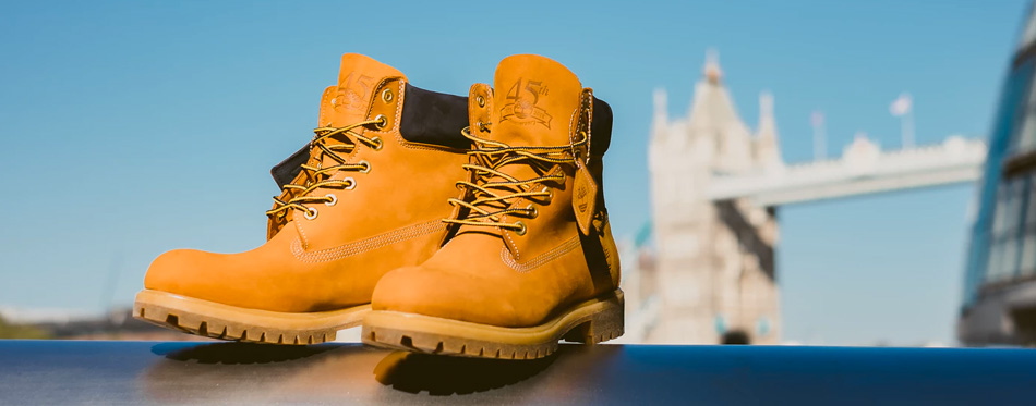 a pair of steel toe cap boots