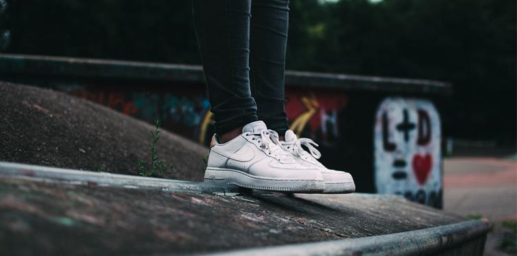 girl wearing sneakers