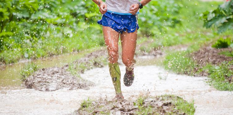 running through the mud