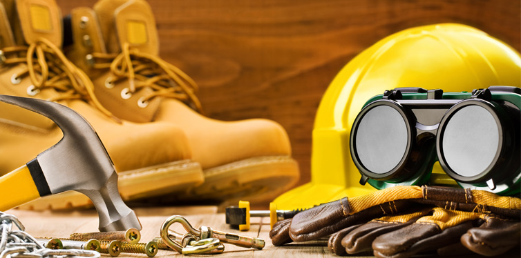 safety shoes and helmet