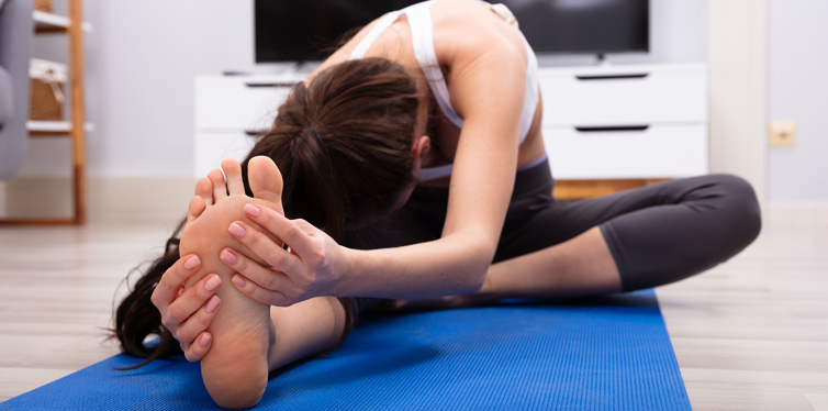 woman doing foot exercise