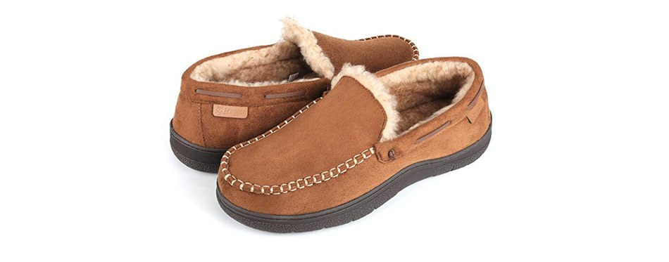 zigzagger men's micro suede moccasin slippers