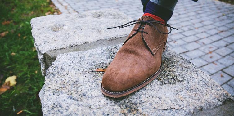 a brown suede shoe
