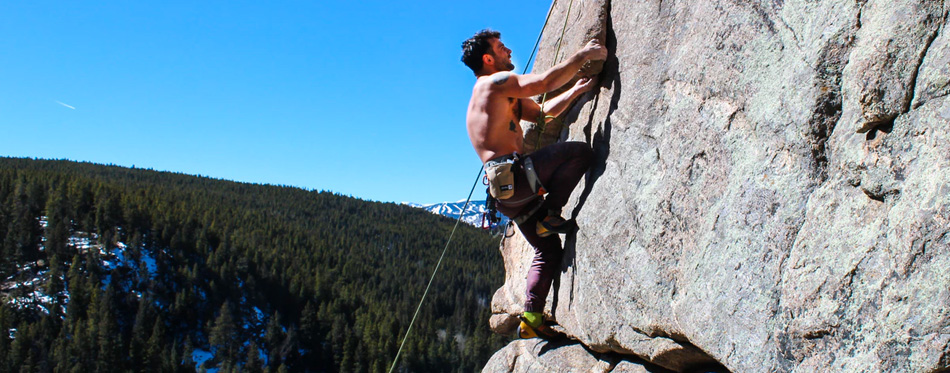 climber wearing approach shoes
