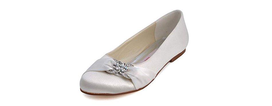 elegantpark pleated satin wedding bridal shoes