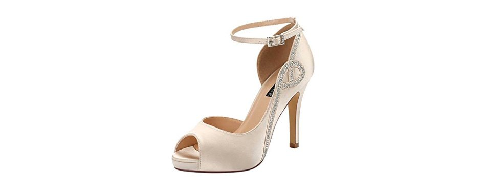 erijunor peep toe bridal wedding shoes