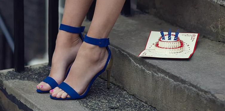 girl in blue high heels