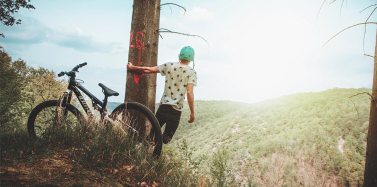 a cyclist in the nature