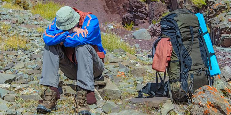 a hiker having health problems