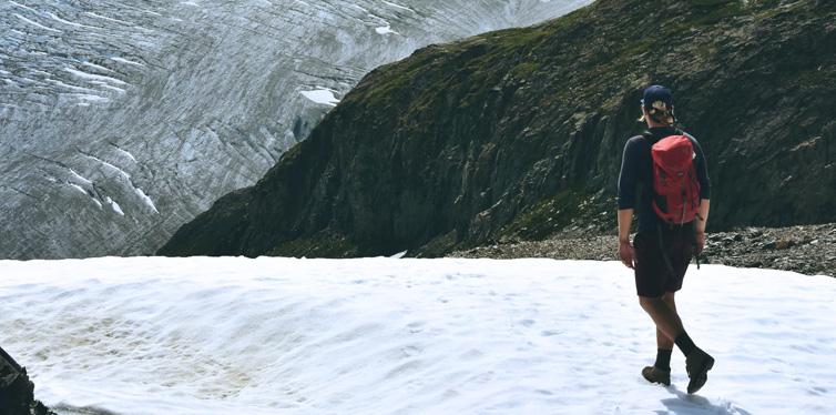 a man walking on snow