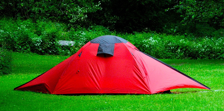 a red camping tent