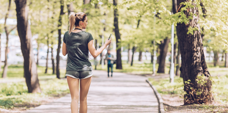a runner with a phone