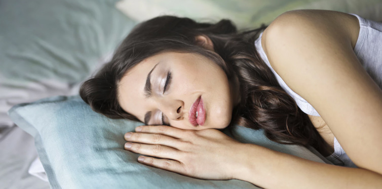 a young woman napping
