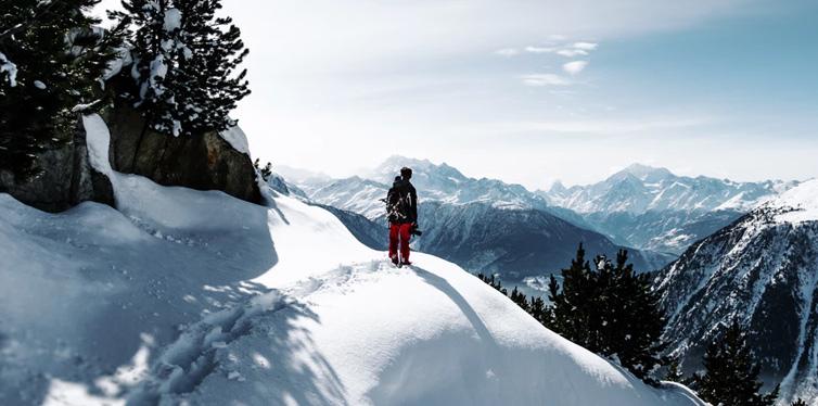 man on a snow mountain