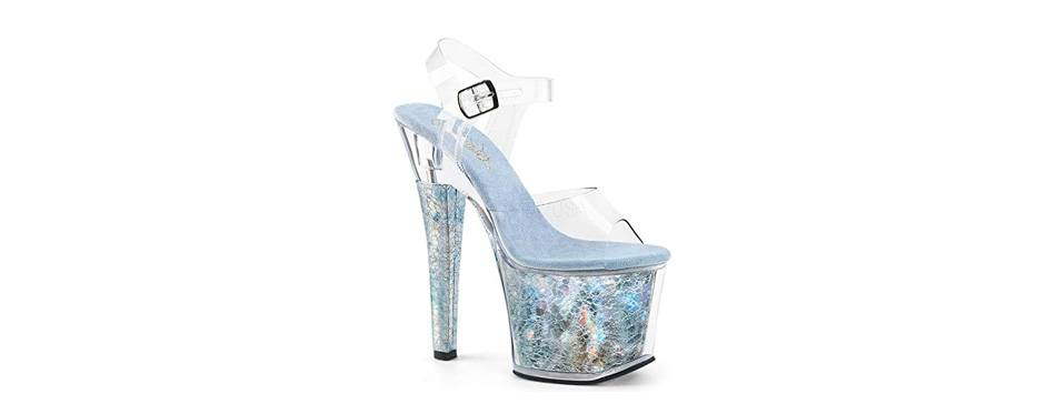 pleaser women's radiant-708thg ankle-strap sandal