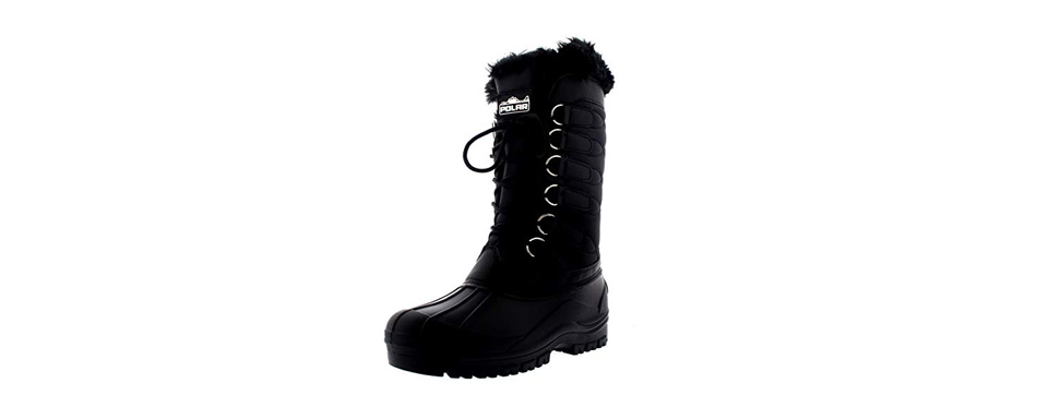 polar women's nylon cold weather outdoor snow duck winter rain lace boot