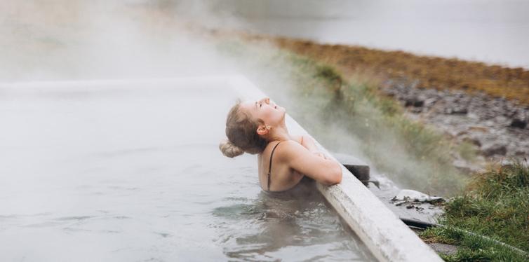 woman having a cold bath