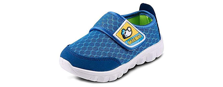 lonsoen kid mesh sneakers athletic hook-and-loop light weight running shoes