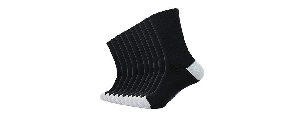 enerwear men's cotton moisture wicking extra heavy cushion crew socks