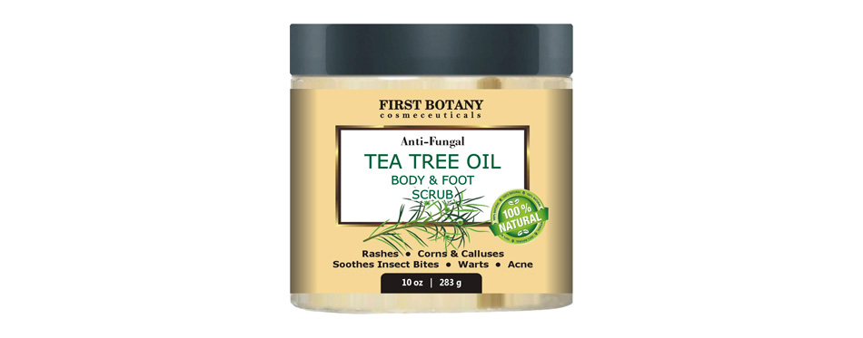 first botany cosmeceuticals 100% natural anti fungal tea tree oil body & foot scrub