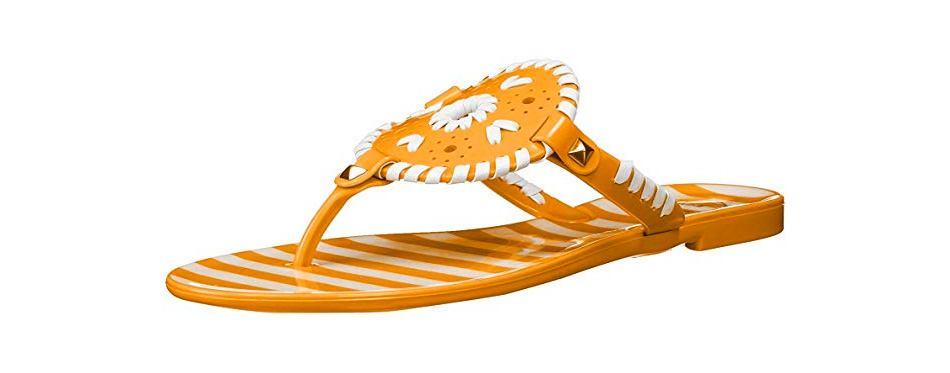 jack rogers women's striped georgica jelly flat sandal