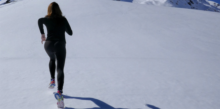 woman running on snow