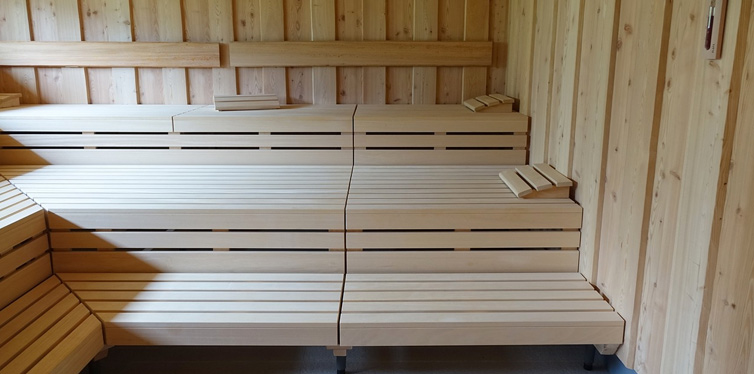 wooden seats in sauna