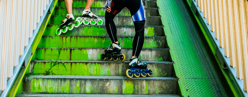 inline skates on stairs