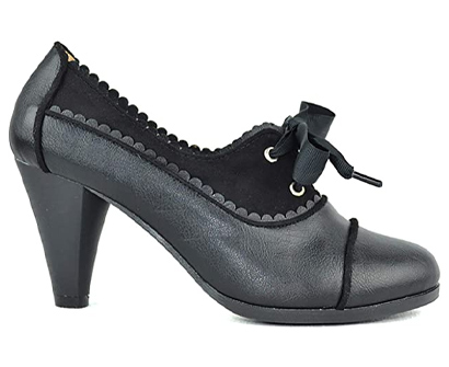 chase & chloe dora-7 lace up vintage cut-out women's heeled oxford