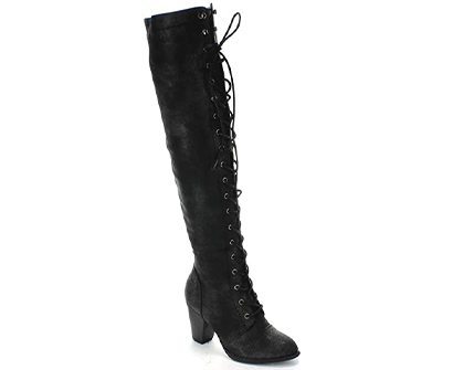 forever women's chunky heel lace up riding boots
