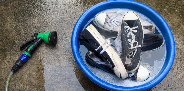 shoes in bucket