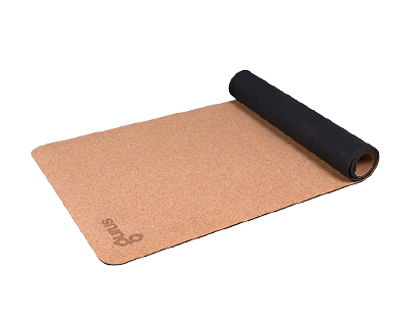 gurus natural cork yoga mat with tpe latex-free bottom
