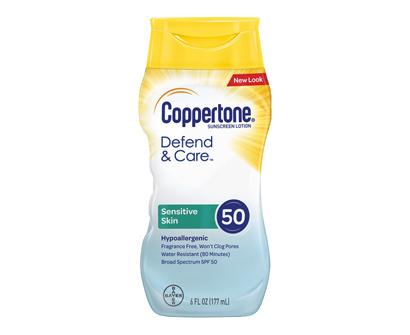 coppertone defend & care sensitive skin sunscreen lotion