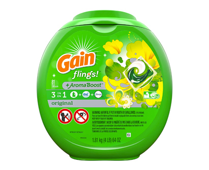 gain flings! liquid detergent pods, 81 washes