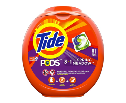 tide 3-in-1 laundry pods, spring meadow scent, 81 washes