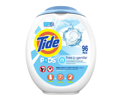 tide free & gentle unscented and hypoallergenic laundry pods. 96 washes
