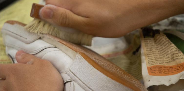 brushing sneakers