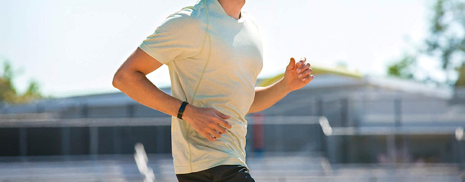 runner with heart rate monitor