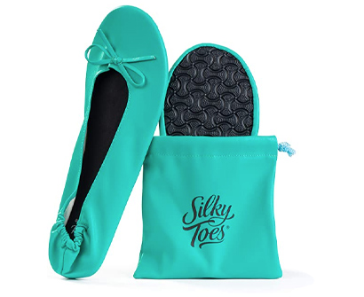 silky toes women's foldable portable travel ballet flat