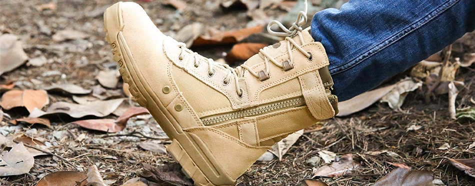 wearing zipper work boots