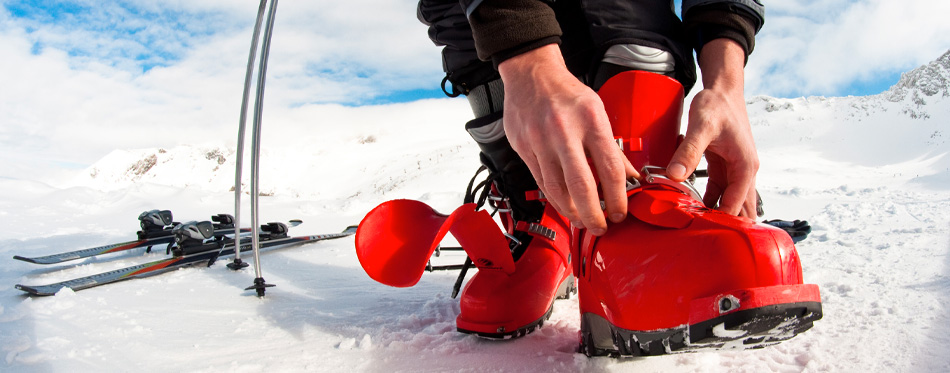red ski boots