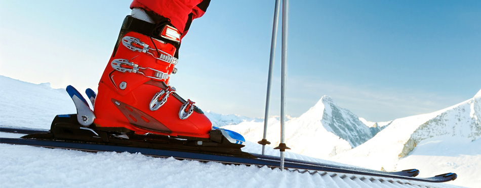 ski boots in action