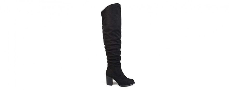 brinley co women's wide calf over knee ruched stacked heel boot