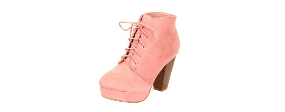 cambridge select chunky stacked heel ankle bootie